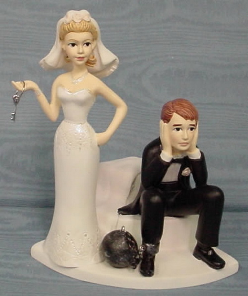 Ball And Chain Bride And Groom Cake Topper