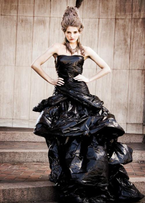 Black Dress Woman Trash Bags